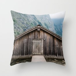 Cottage in a misty lake Throw Pillow