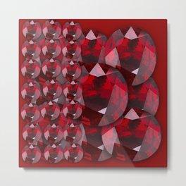 MODERN ART RED GARNET GEMS JANUARY BIRTHSTONE Metal Print