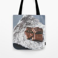 bar Tote Bags featuring chocolate bar  by mb13
