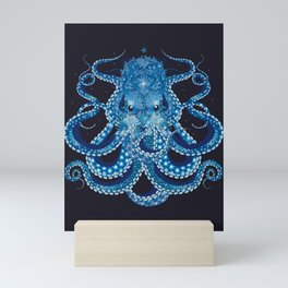 Octopus with corals, shells and sea anemones Mini Art Print