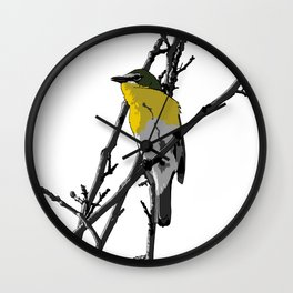 Yellow-breasted Chat - White Background Wall Clock