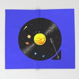 Solar System Vinyl Record Throw Blanket