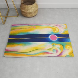 Pink Moon and Blue Lines Abstract Painting by Georgia O'Keeffe Rug