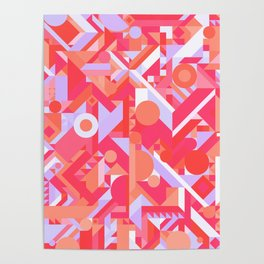 GEOMETRY SHAPES PATTERN PRINT (WARM RED LAVENDER COLOR SCHEME) Poster