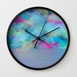 Lakeshore Calm after the Rain 1 Blue Teal Pink Gold - Abstract Art Series Wall Clock