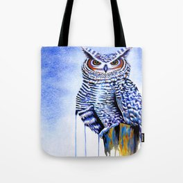 Blue Great Horned Owl Tote Bag