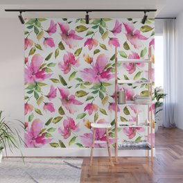Pink flowers. Watercolor lovely florals. Wall Mural