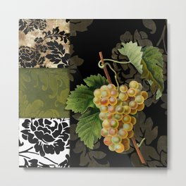 Damask Wine Grapes Metal Print