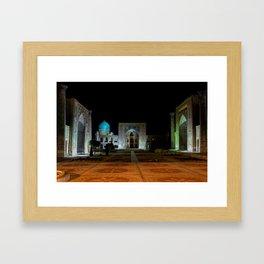 Registan square at night - Samarkand Framed Art Print