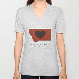 """I am in love with Montana"" - burnt orange Unisex V-Neck"