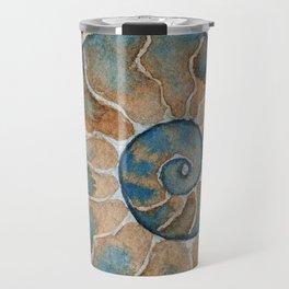 Ammonite fossil watercolor painting Travel Mug