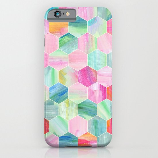 Pretty Pastel Hexagon Pattern in Oil Paint iPhone & iPod Case