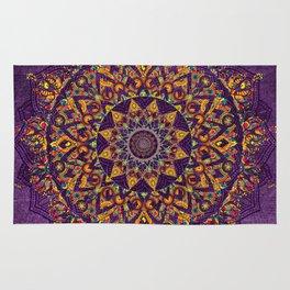 Multi-Coloured Patterned Mandala On A Purple Textured Background Rug
