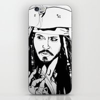 jack sparrow iPhone & iPod Skins featuring Captain Jack Sparrow by Evanne Deatherage