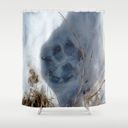 Watercolor Footprints 02, Coyote Snow Track Shower Curtain