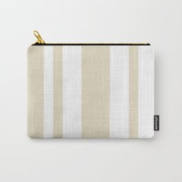 Mixed Vertical Stripes - White and Pearl Brown Carry-All Pouch