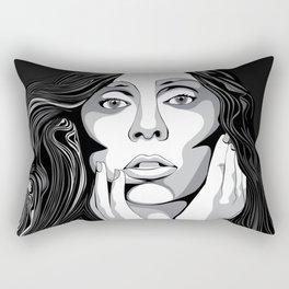 Girl Monochrome Illustration Vector 1 Rectangular Pillow