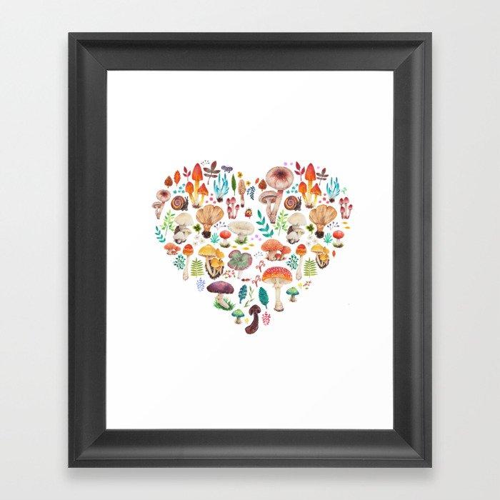 Mushroom heart Gerahmter Kunstdruck