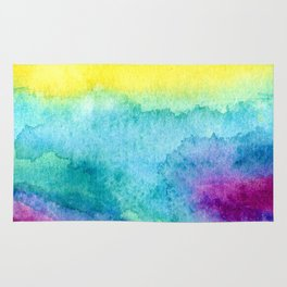 Modern neon yellow blue hand painted watercolor Rug