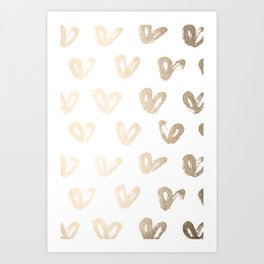Luxe Gold Hearts on White Art Print
