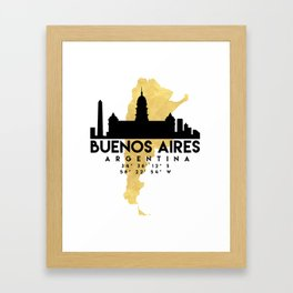 BUENOS AIRES ARGENTINA SILHOUETTE SKYLINE MAP ART Framed Art Print