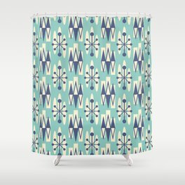 Retro Mid Century Modern Atomic Triangles 721 Blue and Turquoise Shower Curtain