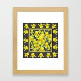 MULTITUDE OF YELLOW IRIS IN GREY PATTERN ART Framed Art Print