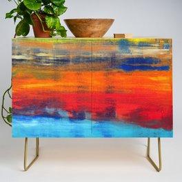 Horizon Blue Orange Red Abstract Art Credenza