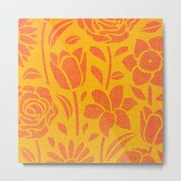 ORANGE FLOWERS CANVAS STENCIL PATTERN Metal Print