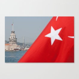 Turkish flag and Maiden tower in Istanbul Canvas Print
