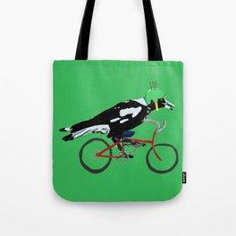 Magpie on Bike Swoop (in Green) Tote Bag