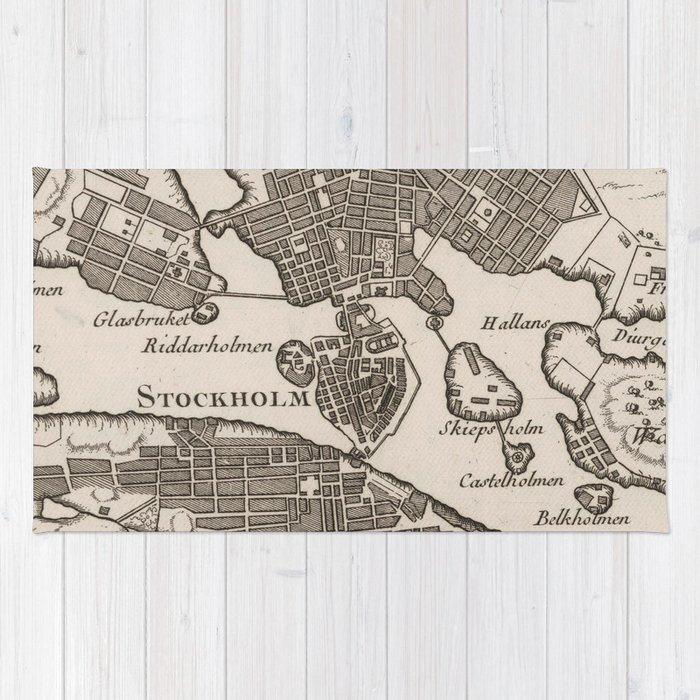 Vintage Map of Stockholm Sweden (1764) Rug