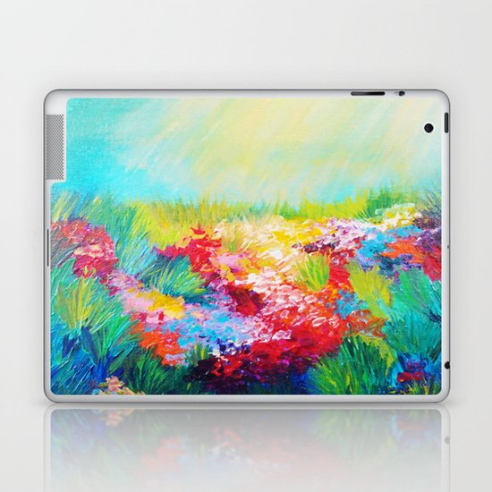ETHERIAL DAYS - Stunning Floral Landscape Nature Wildflower Field Colorful Bright Floral Painting Laptop & iPad Skin