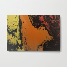 Fluid Art Acrylic Painting, Pour 5, Black, Red, Orange, & Yellow Blended Color Metal Print