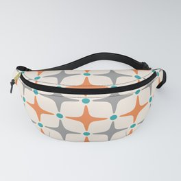 Mid Century Modern Star Pattern Grey and Orange Fanny Pack