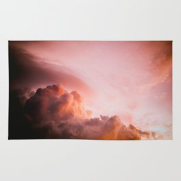 Beautiful Pink Orange Fluffy Sunset Clouds Cotton Candy Texture Sky Rug