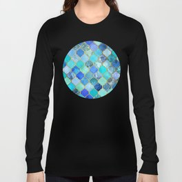 Cobalt Blue, Aqua & Gold Decorative Moroccan Tile Pattern Long Sleeve T-shirt