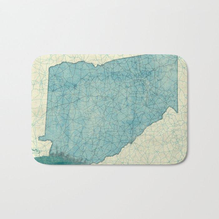 Georgia Map Blue Vintage Bath Mat