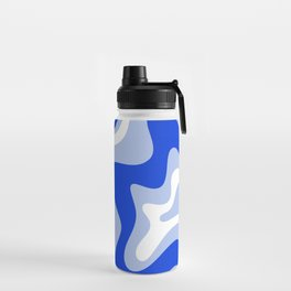 Retro Liquid Swirl Abstract Pattern Royal Blue, Light Blue, and White  Water Bottle