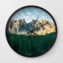 Sunrise mountain view in the Italian Dolomites lake Carezza Wall Clock