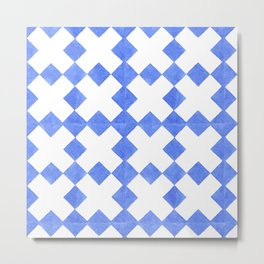 Modern blue  white watercolor crosses geometric pattern Metal Print