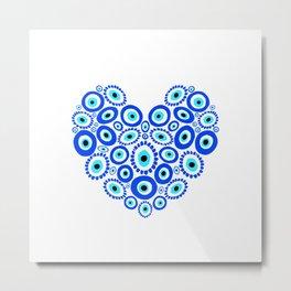 Greek Eye Love Heart Metal Print