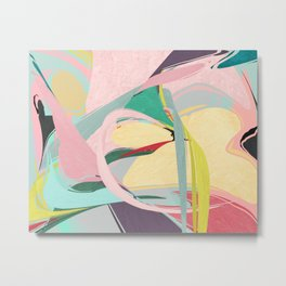 Shapes and Layers no.23 - Abstract Draper pink, green, blue, yellow Metal Print