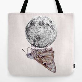 In which a moth is enticed by the light of the moon Tote Bag