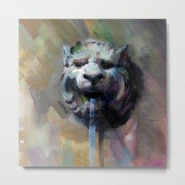 Lion Head Fountain Metal Print