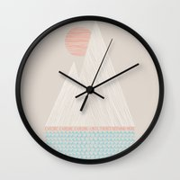 wanderlust Wall Clocks featuring Nothing More by Wesley Bird