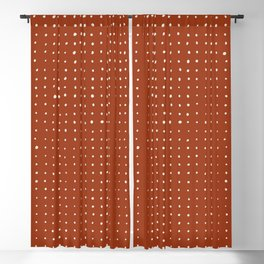 Light grey dots on rust Blackout Curtain