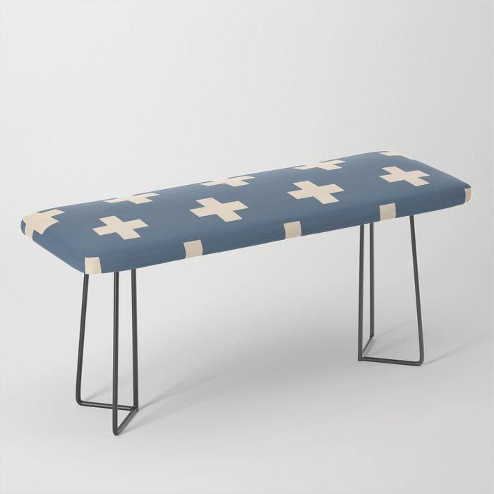 Swiss Cross Blue Bench