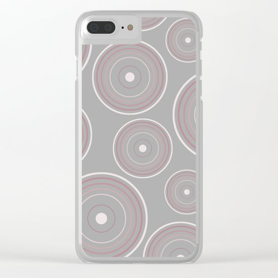 CONCENTRIC CIRCLES IN GREY (abstract pattern) Clear iPhone Case