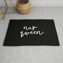 Nap Queen black and white typography design home wall decor bedroom gift for girlfriend Rug